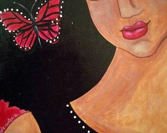 Original 16x20 Modern African American portrait painting Canvas ArT