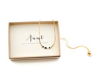 Aunt Morse Code Necklace, Aunt Necklace, Morse Code Jewelry, Aunt Gift, Aunt To Be, Aunt Birthday, Gift For Aunt, Gold Dainty, Aunt Necklace