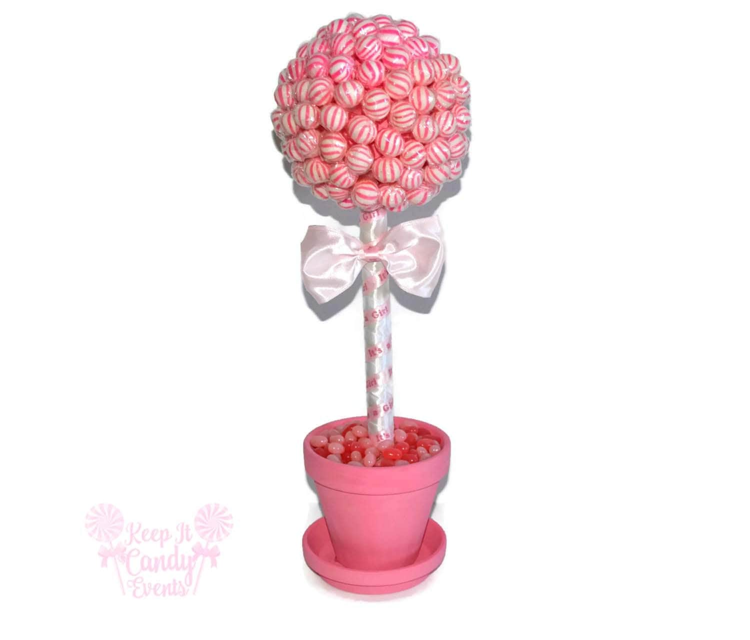 Pink lollipop baby shower topiary its a girl centerpiece