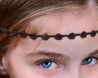 Brown Boho Headband - Adult Boho Headband - Forehead Headband - Hippie Headband - Halo Headband - Adult Headband - Brown Headband - Brown