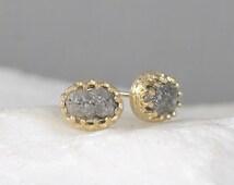 Diamond Earrings – 2 Carat - Conflict Free Rough Raw Uncut Diamonds - 14K Yellow Gold - Raw Diamond Stud Earrings - April Birthstone