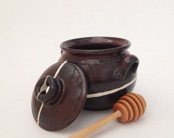 Hand Crafted Ceramic Honey Jar with Lid