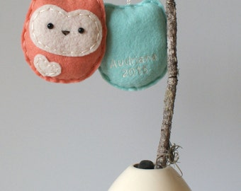 Personalized Owl Ornament / 2017 Kids Name Ornament / Handmade Ornament / Made to Order