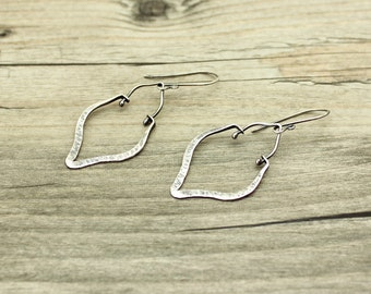 Silver Hammered Exotic Hoop Earrings Boho Jewelry JMK