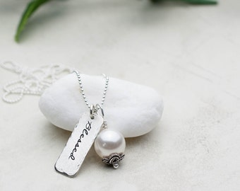 Blessed Necklace, Inspirational Jewelry, Hand Stamped Necklace, Pearl Charm, Sterling Silver Gift for Friend Christian Jewelry Mom Life