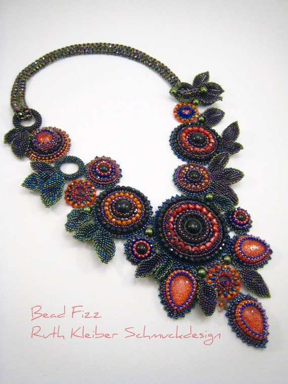 bead embroidery collar statement necklace with flowers by