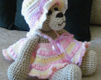 "Crocheted teddy bear stuffed animal doll toy ""Mandy"""