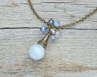 Healing - blue agate necklace, boho style, layering necklace, healing stone,  gemstone necklace, blue agate pendant, boho blue agate jewelry