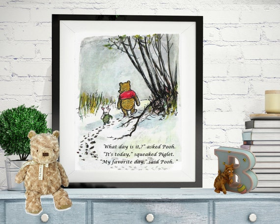 winnie the pooh quotes pooh prints what day is it asked. Black Bedroom Furniture Sets. Home Design Ideas