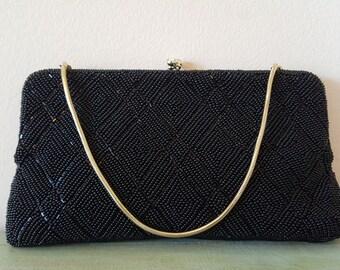 Vintage Black Beaded Clutch Handbag Made in Hong Kong