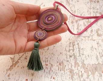 Tassel necklace, Christmas gift, Long bohemian chic necklace, Deep magenta necklace with cypress green tassel, boho necklace, polymer clay
