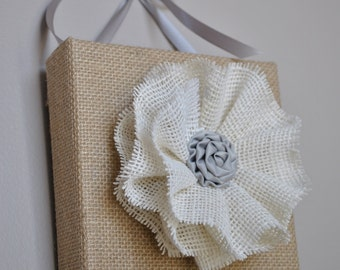 CLEARANCE Fabric wall art, Wall hanging, 3D wall art, 3D wall hanging, Fabric wall hanging, burlap flower, Fabric picture, rustic decor