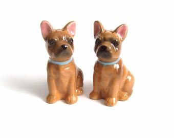 Bulldog Salt and Pepper Shakers Dogs Vintage French Bulldog Figurines