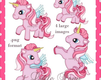 1 Little Pony - Bright Colorful Unicorn Pony Images for Digital Scrapbooking and Paper Crafts