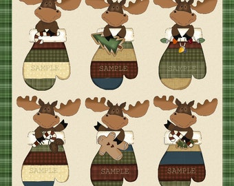 Moose Mittens - Digital Clipart Graphics Christmas Moose Mittens