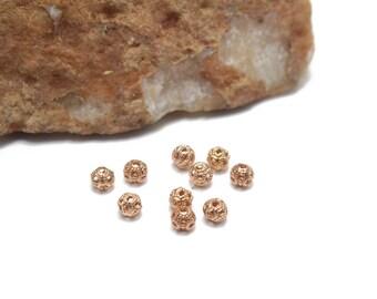 Rose Gold Filigree Ball Spacers 4mm 10pcs