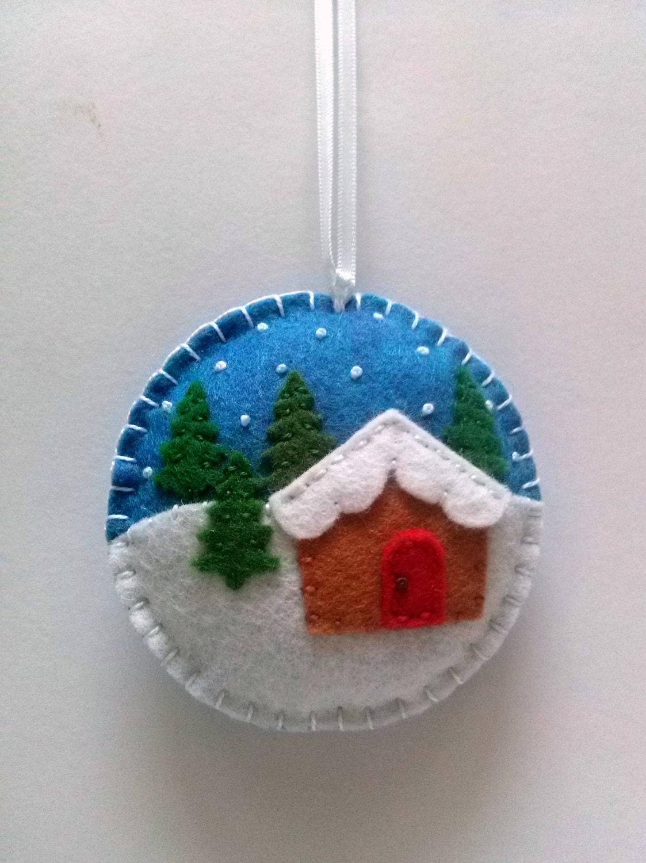 Felt christmas ornament village snow by dusicrafts