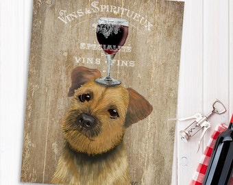 Border Terrier Print - Dog Au Vin - Border Terrier gift cute dog art print Gift for wine lover gift wine art décor Kitchen print gift idea