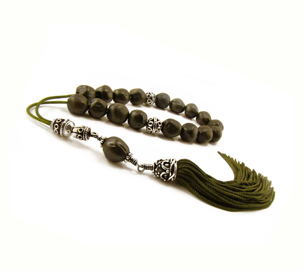 greek worry beads komboloi dark green juniper seeds