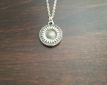 Sunflower Necklace, Sunflower, Silver Sunflower Necklace, Flower Necklace, Sunflower Pendant, Sunflower Jewelry, Necklace, Silver Necklace