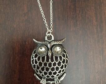 silver owl necklace, owl necklace, owl jewelry, owl, silver owl, silver necklace, necklace