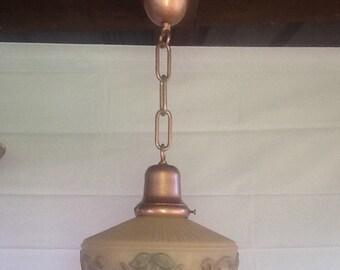Victorian Antique Reverse Paint Pendant Light 1920s Vintage