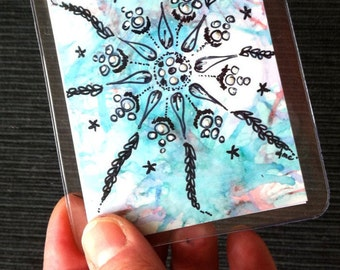 Mandala, art card, ACEO, Flower Mandala, ORIGINAL Art, Tiny Painting, Alcohol Ink, Mixed Media