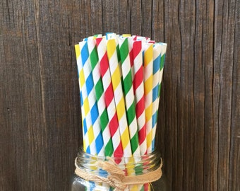100 Red, Yellow, Green and Blue Striped Straws- Primary Colors, Birthday Party Supply, Free Shipping!
