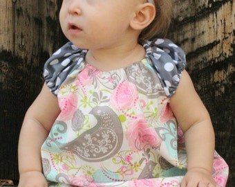 Pretty Pink Birdie Infant Peasant Dress with Matching Diaper Cover and Headband
