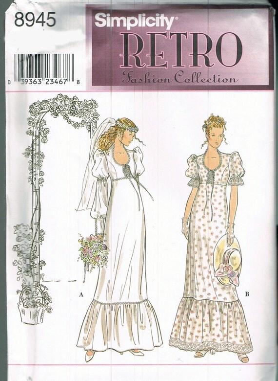 Size 6 12 wedding dress sewing pattern empire waist wedding for Empire waist wedding dress patterns
