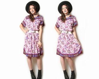 SALE Vintage 70s Batik Dress - Sun Dress - Hippie Dress - Boho Bohemain Dress - Rayon - Gypsie Dress - Gypsy Floral Paisley Dress 70s Dress