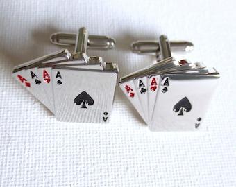Poker Cards Cufflinks Cuff Links Playing Las Vegas Wedding Groom Groomsmen Groomsman Gift