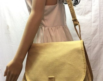 Canvas Saddle Bag, Purse, Shoulder Bag, Tan