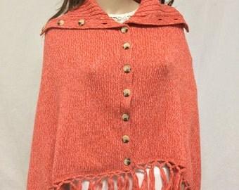 Poncho top,knit poncho,Merino Wool ,Coral,orange,Button Down, Poncho, Knit, Fringed