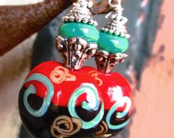 Lampwork Beads  Asian - Oriental Style Handmade Earrings