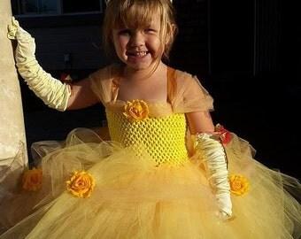 Belle Inspired Tutu Dress (Headband Sold Separately) Newborn To 8 Girls, Costume, Princess, Beauty, Toddler, Baby, Halloween, Birthday
