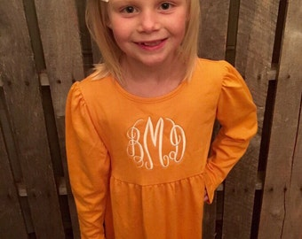 Girls Dress-Monogrammed Girls Halloween or Fall Dress