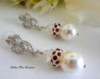 Swarovski Pearl Ruby Red Crystal Bridal Earrings Red and White Wedding Earrings Bridesmaid Bride Jewelry Bride Earrings Mother of Bride Gift