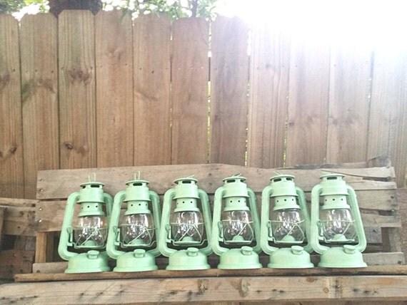 Mint Green Railroad Lantern Rustic Home Decor By