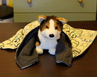 Double layered plush fleece dog blankets with Westie design