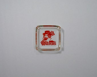 70s Ashtray Sir Walter's bar tavern restaurant 80s tobacco gift lover smoker barware man cave pub decor raleigh orange logo