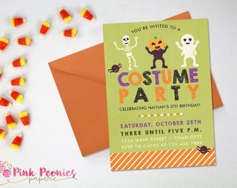 Halloween Party Invitation, Kids Costume Party Custom Printable Invite, Custom Halloween Birthday Party, Kids Invite, DIY or Printed Card