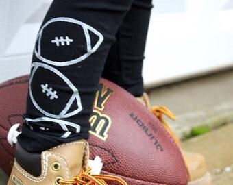 Football Leggings Superbowl Hand Painted Childrens Leggings Custom Team Logo Toddler Leggings Womens Sports Leggings