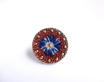 Czech Glass Button - 27mm Blue Flower Czech Glass Button, Glass Flower Button, Blue Flower Button, Gold Glass Button BUT0015