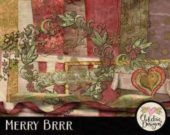 Christmas Digital Scrapbook Kit Clip Art - Digital Scrapbooking Christmas Kit - Merry BRRR Christmas Digital Papers & Elements