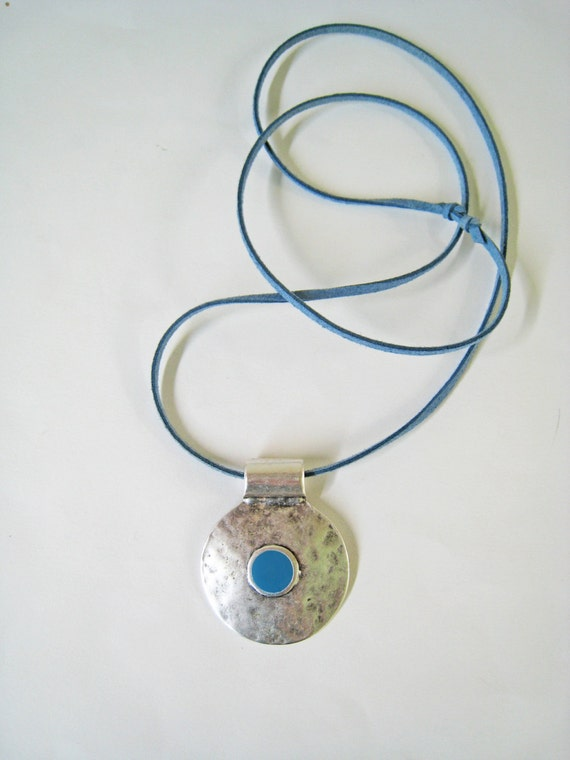 Turquoise bohemian necklace, blue necklace, boho tribal pendant, blue resin necklace, hammered silver round pendant, ancient greek amulet