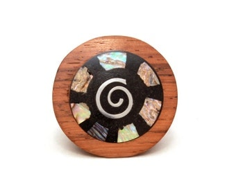 Boho Ring, Vintage Wood Ring, Statement Ring, Boho Ring Natural, Hand Carved Wood Ring, Abalone Inlay Ring, Silver Spiral Ring, Size 9.25
