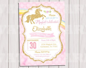 Unicorn Invitation, Pink and Gold, Rainbow Unicorn Birthday Invite, Sprinkle Invite, Gold Glitter first birthday, Baby girl Printable