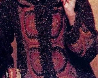 Hooded Jacket Vintage Crochet Pattern Download