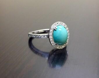 Platinum Diamond Turquoise Engagement Ring - Art Deco Platinum Turquoise Diamond Wedding Ring - Halo Diamond Turquoise Ring - Platinum Ring